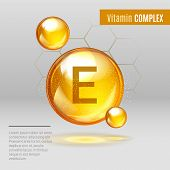 Vitamin E Gold Shining Pill Capcule Icon . Vitamin Complex With Chemical Formula, Tocopherols, Tocot poster