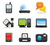 stock photo of computer technology  - Electronic Computer Icon Set One - JPG