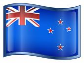 New Zealand Flag Icon. ( With Clipping Path )