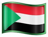 Sudan Flag Icon. (With Clipping Path)