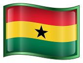 Ghana Flag Icon. (With Clipping Path)