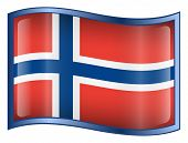 Norway Flag Icon. (With Clipping Path)