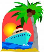 stock photo of cruise ship  - Cruise ship and palm tree on a sunset background - JPG