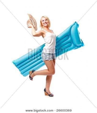 Woman and airbed