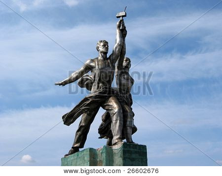MOSCOW JULY 13: Famous Soviet monument of the Worker and Collective Farmer July 13, 2003 in Moscow, Russia