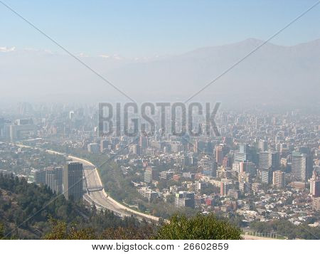 Thick smog over Santiago de Chile