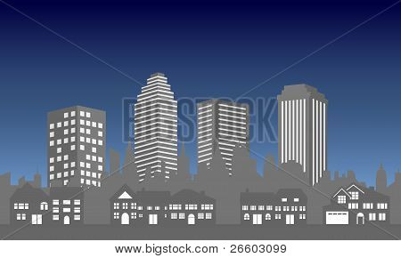 City Skyline With Houses