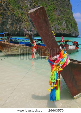 Long-tail boats at Maya bay of Phi-Phi island