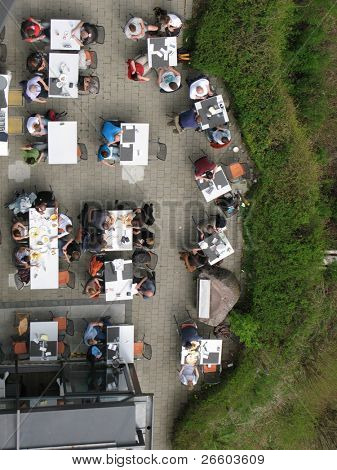 Top view to an open-air restaurant