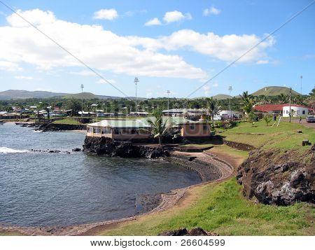 Harbor of Hangaroa village, Easter Island