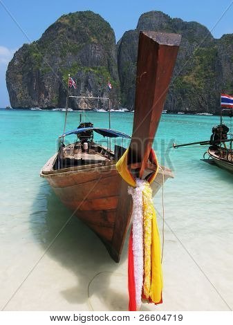 Long-tail boat at Maya bay of Phi-Phi island