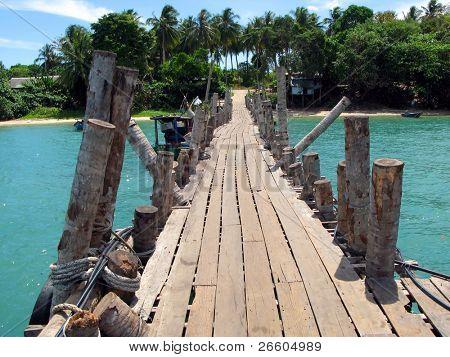 Wooden pathway. Langkawi island, Malaysia