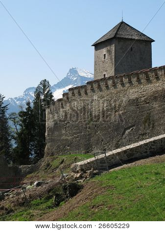 Old fortress on the top of the Monk's mountain in Salzburg, Austria