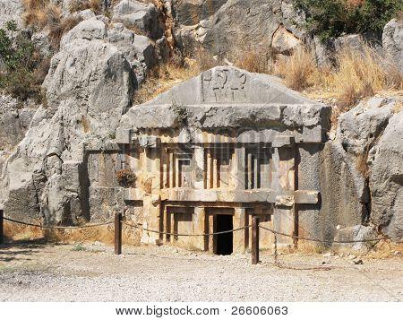 Ancient necropolis in Myra, Turkey