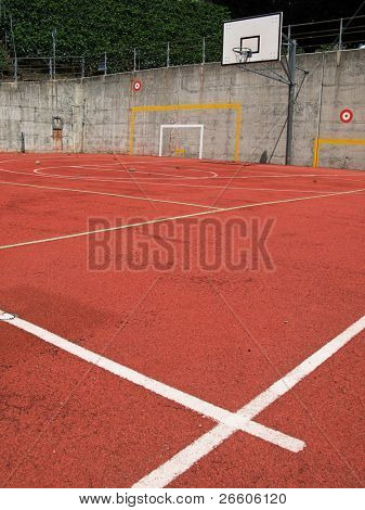 Basketball court images stock photos illustrations for Average basketball court size