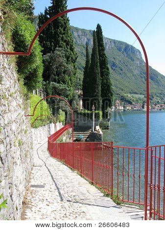 Path to the villa Monastero, lake Como, Italy