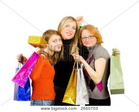 Three Isolated Girls Out For Shopping Isolated