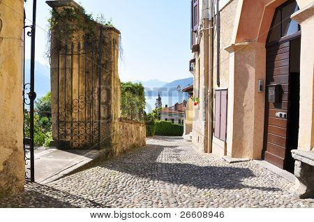 Narrow street of Menaggio town at the famous Italian lake Como