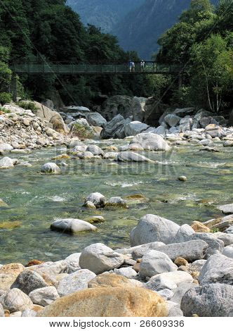 Hanging bridge in Verzasca Valley, Southern Switzerland