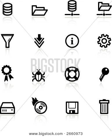 Black File Server Icons