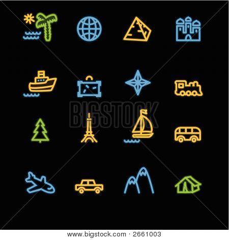 Neon Travel Icons
