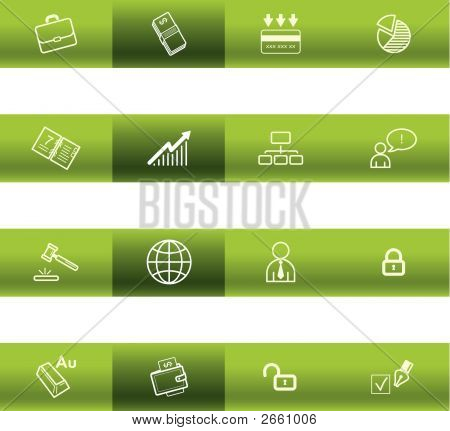 Green Bar Business Icons