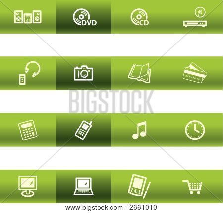 Green Bar Home Electronics Icons