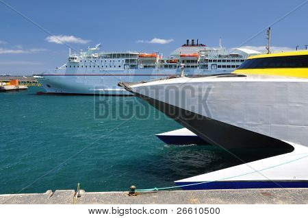 Ferry and a cruiser ship in the port of Santa Cruz Tenerife, Canaries