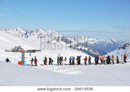 Queue at the ski lift