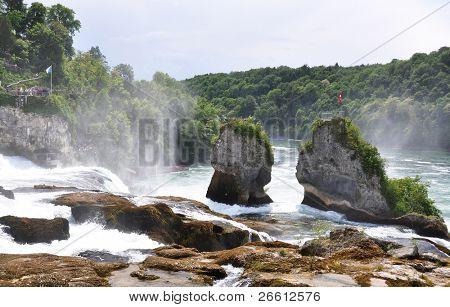 Rhinefall in Schaffhausen, Switzerland, the largest waterfall of Europe