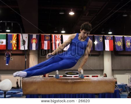 Boy Competing On Pommel