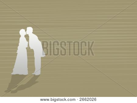 Vintage Background With Silhouettes Kissing Men And Women