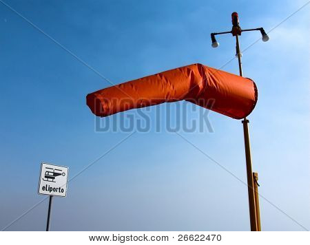 Wind sock and signal heliport