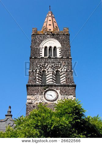 Randazzo the bell tower of the thirteenth century of the church of Santo Martino with the clock