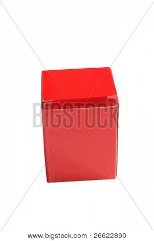 Box of red cardboard wrapping little object