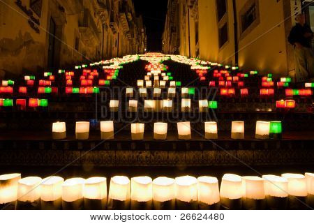the illuminate staircase of Caltagirone