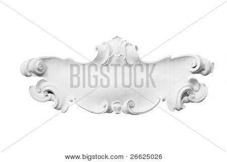 Floral frame window baroque of stucco isolated on white background