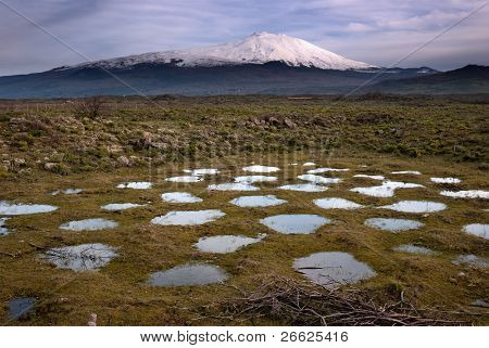water holes in meadow and snowy volcano Etna