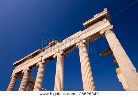 low view of temple Erechtheum in Acropolis, Athens
