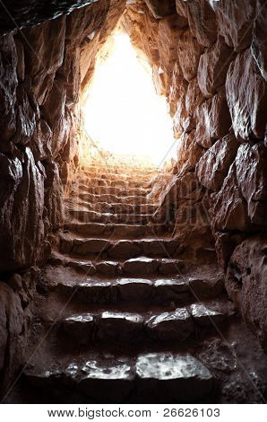 exit of a cave in archaeological excavations of mycenae