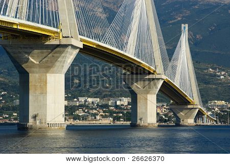 suspension bridge crossing Corinth Gulf strait, Greece.  Is the world's second longest cable-stayed bridge