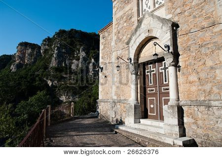 church of Moni Agiou Ioannis Prodromou in gorge of river Loussios, Greece