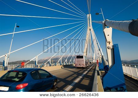 traffic on a greek bridge