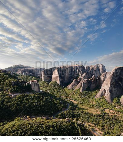 morning on Moni Agias Varvaras Roussanou on top of rocks Meteora, Greece