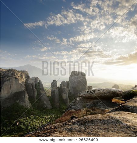 solar sunset on the rocks of Meteora, Greece