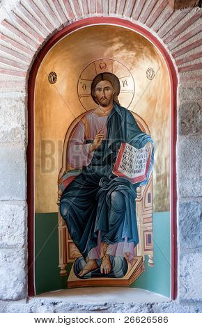 old painting of Jesus Christ in The Holy Monastery of the Great Meteoron, Greece