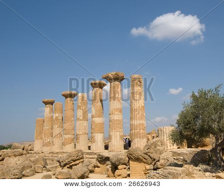 view of doric temple of Heracles in the valley of temples in Agrigento