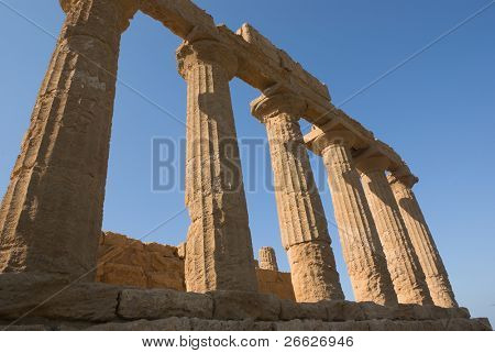 below view of column Valley Of Temples in Agrigento against clear blue sky