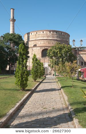 the Rotunda in town Of Thessaloniki, Greece, was built by Galerius as his mausoleum,  Constantine the Great made it  the  first church; the Ottomans would transform it into a mosque with a minaret