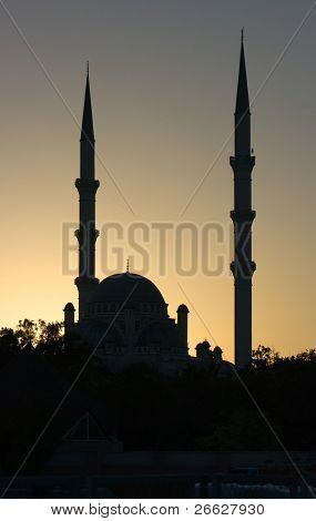 silhouette of minarets at the sunset in Konya, Turkey